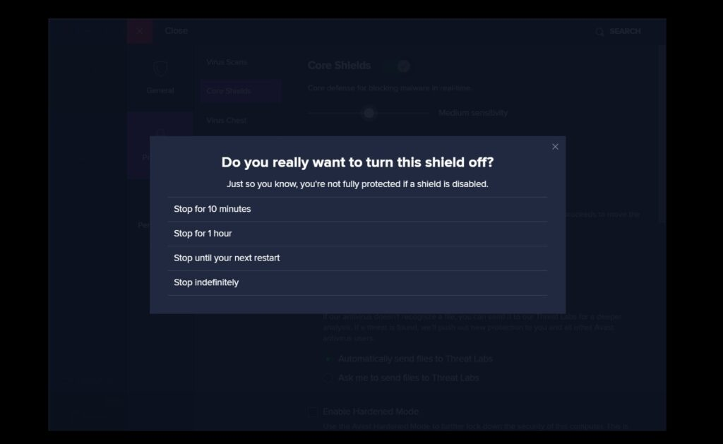 how to disable avast - step 8